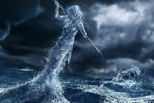 Framed Print - Water Goddess Fighting a Sea Monster (Ocean Picture Poster Art)