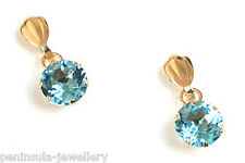 9ct Gold Swiss Blue Topaz Drop Earrings Gift Boxed Made in UK