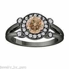 1.03 Carat Champagne Brown Diamond Engagement Ring 14K Black Gold Vintage Style