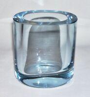 HOLMEGAARD ~ Vintage Ice Blue Glass Low & Oval VASE Designed By Per Lütken 1960