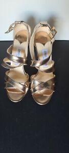 Jimmy Choo 37.5 US 7 Louise Rose Gold X Strap Open Toe Sandal Heel