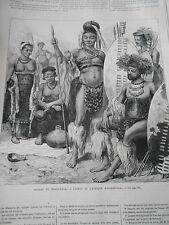 Gravure 1876 - Cafres de l'afrique méridionale