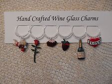 """""""Valentines Day'' SET OF 6  HAND CRAFTED wine glass drink markers"""
