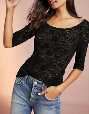 ANTHROPOLOGIE PURE + GOLD BLACK LACE ELBOW SLEEVE LAYERING TOP TEE Sz S