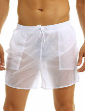 Men's Swim Trunks See-Through Quick Dry Shorts Smooth Boxer Brief Swimwear Beach