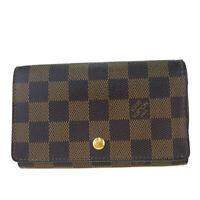 Authentic LOUIS VUITTON Tresor Bifold Wallet Damier Leather Brown N61736 66BK528