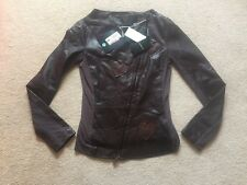 Armani Jacket Ladies Designer Leather Jacket Size 44it Zip Love Heart £580