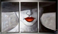 Modern Abstract Huge Wall Art Oil Painting On Canvas Red Lip 3 Pieces No Framed