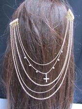 New Women Pins Hair Cross Gold Head Metal Chains Fashion Jewelry Rhinestones