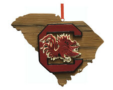 South Carolina Gamecocks Wood Map State Outline Christmas Ornament