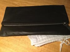 New Black Leather Fold-over Clutch Bag Silver Zip Trims