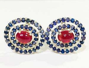 Natural Ruby & Blue Sapphire Gemstone with 925 Sterling Silver Cufflink #4918