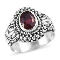 925 Sterling Silver Platinum Over Fissure Filled Ruby Solitaire Ring Size 6 Ct 1