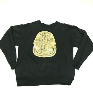 VINTAGE Vecta King Tut Sweater Size Extra Large Black Gold Crew Neck Pullover