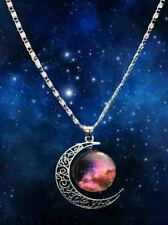 Free shipping Stylish Galaxy Universe Crescent Moon  Round Pendant Necklace A15