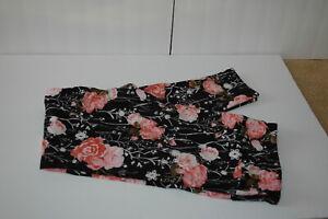 LuLaRoe Leggings TC White Black Pink Roses NWOT