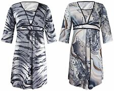 Plus Size Floral Casual Tunic Dresses for Women