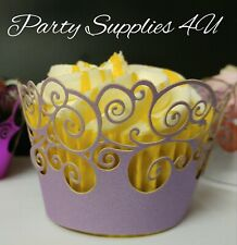 Pretty purple cupcake wrapper Liner/lace/wedding/party/Birthday/baking/cases 6pk