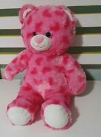 PINK BUILD A BEAR WITH HEARTS TEDDY BEAR BLUE EYES SUPER CUTE 40CM SOFT TOY!