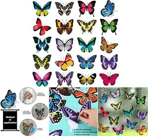 Butterfly Window Clings Anti-Collision Window Clings Decals 20 Pieces Large Size