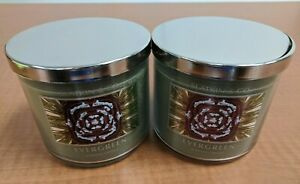 Slatkin Bath and Body Works 3 Wick Scented Candle Evergreen 14.5oz X2