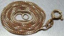 "18K GOLD ON 925 STERLING SILVER Italian Box Chain 18-1/4"" Designer Necklace"