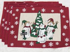 4X SNOWMAN Tapestry Placemats Set Winter Christmas Table Linens LET IT SNOW 18""