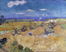 Vincent Van Gogh Wheat Fields With Reaper Auvers Giclee Canvas Print Poster