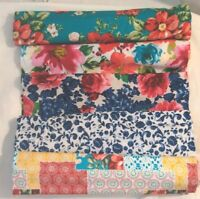 Pioneer Woman FQ 22x18 Cotton Fabric Vintage Floral Patchwork Breezy Scroll Upic