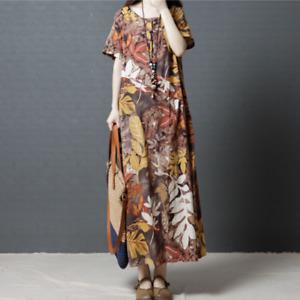 Retro Floral Printed Ethnic Maxi Dress Womens Short Sleeve Cotton Linen Large Sz
