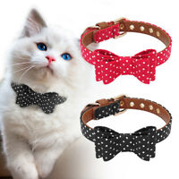 Small Dog Bow Tie Collar Leather Padded Pet Puppy Cat Necklace for Chihuahua S-L