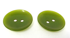 """2 Dark Olive Green Buttons Concave 2 1/4"""" Round 2 Large Holes Vintage"""