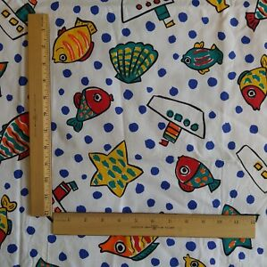 "Cranston Cotton Poly Fabric FISH BOATS STARS on White &  Blue Dots 44""W x 1¾ Yds"