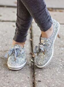 KEDS x KATE SPADE NEW YORK - CHAMPION - Silver Glitter - KIDS / GIRL'S -Size 7.5