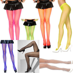 Fishnet Bright Neon Tights Yellow Pink Red Green White ONE SIZE Pantyhose Dress