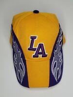 LA Lakers Purple/Yellow Los Angeles Flames Hat Cap - One Size Adjustable Strap