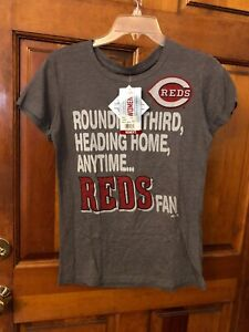 Women's NWT Majestic Licensed Cincinnati Reds Short Sleeve T Shirt Size Large