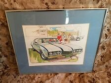 1968 68 oldsmoblie cutlass 442 11x14 Art Print by Ken Dallison framed