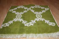 VTG Sears Velvet Touch Green White Print Hand Towel Fringe Trim Bath Linen