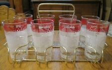 6~1950'S ANCHOR HOCKING GLASS W/ GOLD CADDIE~RED/WHITE COLONIAL AMERICAN~NICE