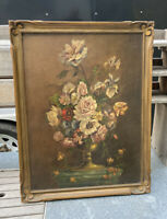 Vintage Antique Oil Painting On Board Of A Pretty Floral Bouquet In A Vase