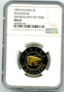 1999 $2 CANADA TOONIE (TWO DOLLAR) POLAR BEAR NGC MS67 HIGH GRADE POP ONLY 7