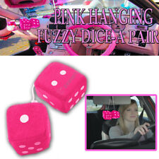 Zone Tech Pair Retro Vintage Car Vehicle Pink Hanging Mirror Fuzzy Dice 2.75""