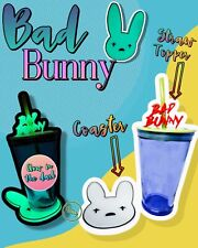 Bad Bunny Straw Topper and Coaster