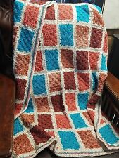 New! Handmade Crochet Blanket Lap Throw Afghan - teal, terracotta, cream OOAK