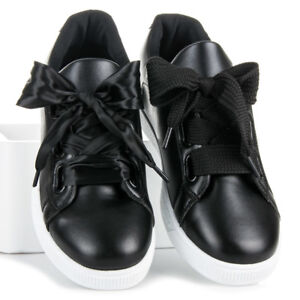 Womens Ladies Lace Up Trainers Black Satin Bow Sneakers School Shoes Salanzo