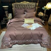 Embroidery Bedding Set Egyptian Cotton  4/6Pcs Duvet Cover Flat/Fitted Sheet Set