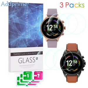 9H Hardness Tempered Glass Screen Protector for Fossil Gen 6 Smartwatch 3 Packs