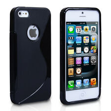 FUNDA DE SILICONA TPU GEL PARA IPHONE 5  S LINE CASE COLOR NEGRO NEGRA CARCASA