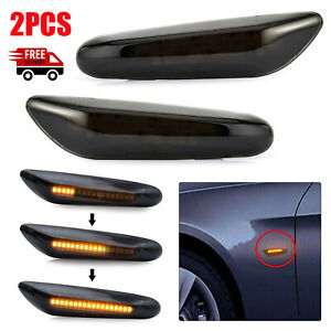 Dynamic LED Side Indicator Smoke Turn Signal Light For BMW E90 E92 E60 E87 E82